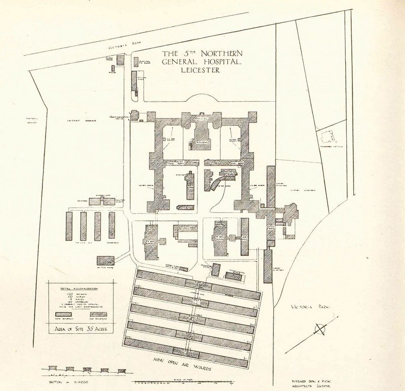 Design for Leicester Military Hospital, RIBA Journal, 8 January 1916.