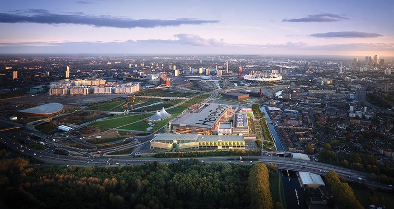 Visualisation of the Olympic Park, looking south past Here East in the foreground.