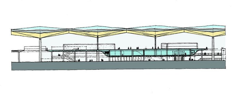 Sketch section through the airport showing the clear relationship of upper departure hall to interstitial services level to the arrivals hall at the bottom. Grimshaw's desire to connect the two halls is evident where cutouts in the departures hall allow views (and columns) up to the roof.