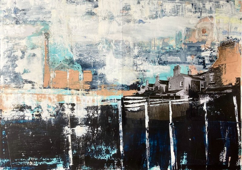 Talk to your Neighbour – Victorian terrace backs.  Oil and collage on encaustic paper, 830mm × 605mm.
