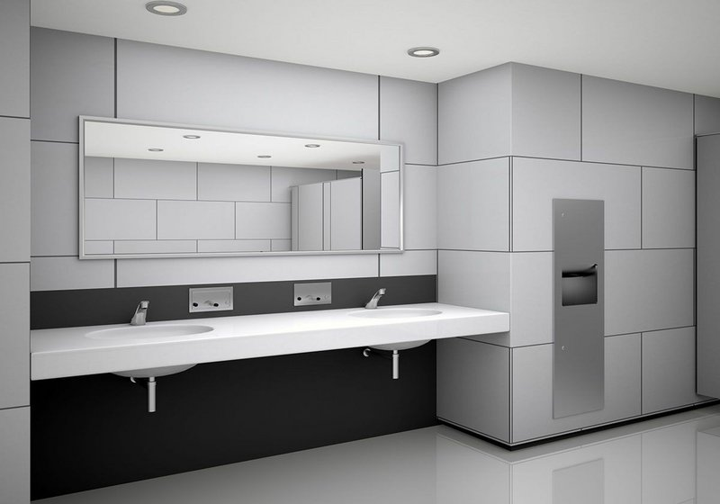 The Bobrick B-38030 TrimLineSeries (above right): Drying hands using a paper towel in the warm air stream is fast and hygienic.