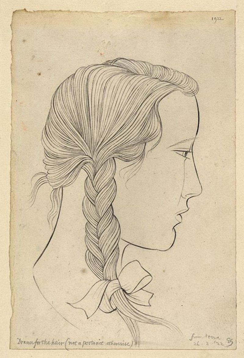 Eric Gill, The Plait, 1922. Pencil on Paper; Ditchling Museum of Art + Craft. A portrait of the young Petra, as an exercise in drawing hair.