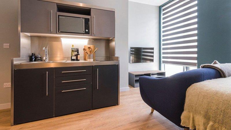 Slimline, stylish, robust: Elfin Kitchens at Crown House student accommodation in Sheffield.