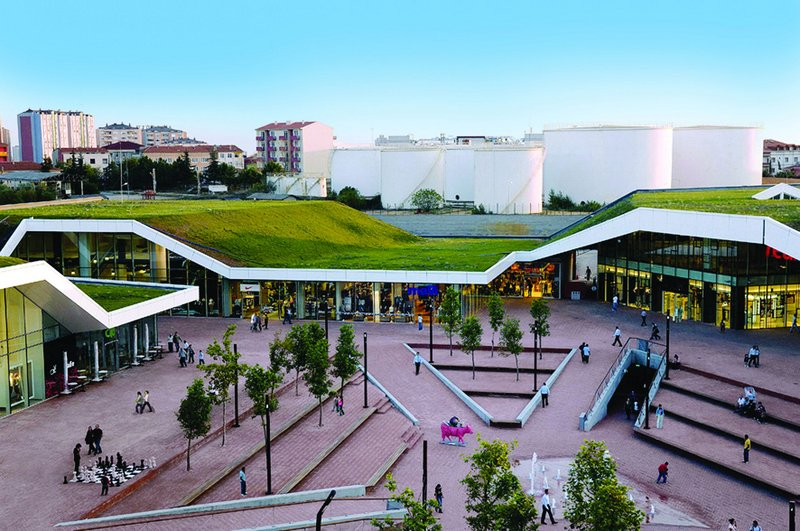 FOA's 2007 Meydan Umraniye retail  complex in Istanbul used green roofs as a key  element of its design