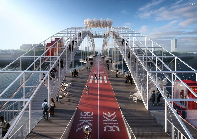 It's a pedestrian bridge. No, it's a dedicated cross-river bike route. No, it's an arching funicular rail system leading to a central 'fun palace' viewing platform. Cedric Price must be turning in his grave.