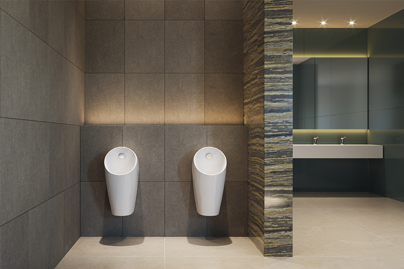 Sphero Maxi: Its Smart Hybrid flush system detects salinity and urinal use, activating flushes and using water only when needed, potentially saving 50,000 litres of water a year in high-traffic environments when compared to infrared solutions.