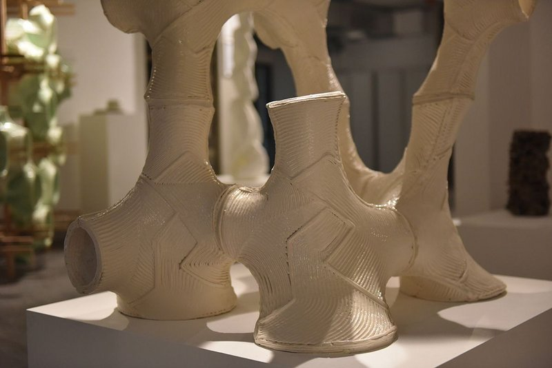 Ceramic components printed at Grymsdyke Farm using six axes of robotic arm movement.