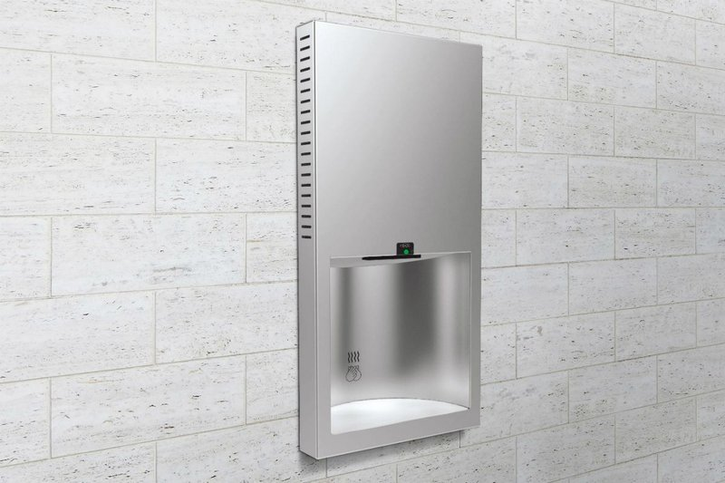 The Bobrick B-3725 TrimLineSeries recessed, low-profile hand dryer features a deep drying alcove.