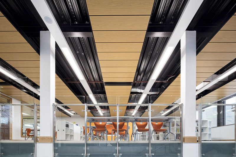 Armstrong Ceilings have been specified in the atrium at Ysgol Gyfun Ystalyfera Welsh Medium Comprehensive School, near Swansea