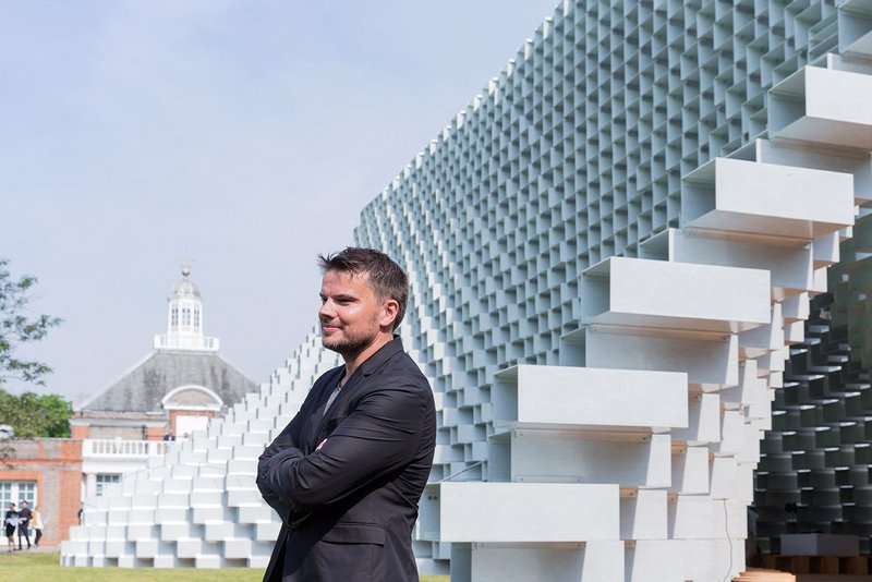 Bjarke Ingels with his completed Serpentine Pavilion.