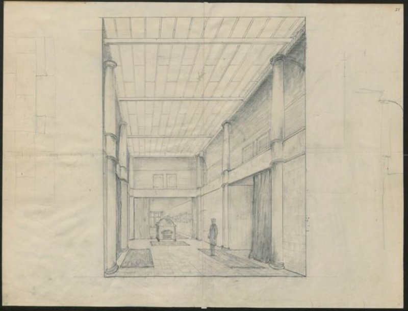 Drawn by Galsworthy: the interior of the fictitious Robin Hill.