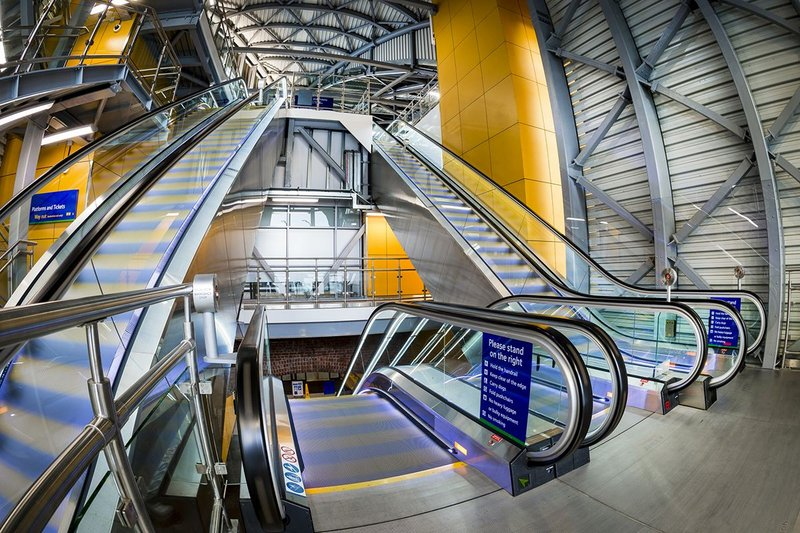 Stannah escalators installed at Leeds Station's southern entrance.