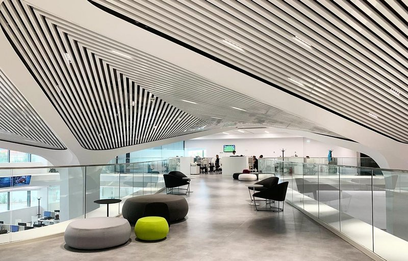 Cosmote TV HQ and Studios in Athens with furniture from the Arper Loop, Colina, Dizzie and Pix collections.