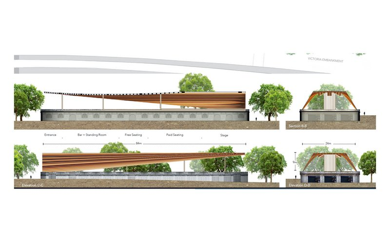 The Temple Heights concept proposes a tapering canopy over a rooftop stage, seating and bar.