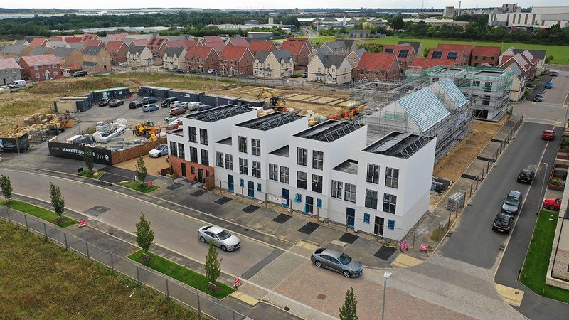 A development of 47 homes in Corby in Northamptonshire was built using the Project Etopia system.