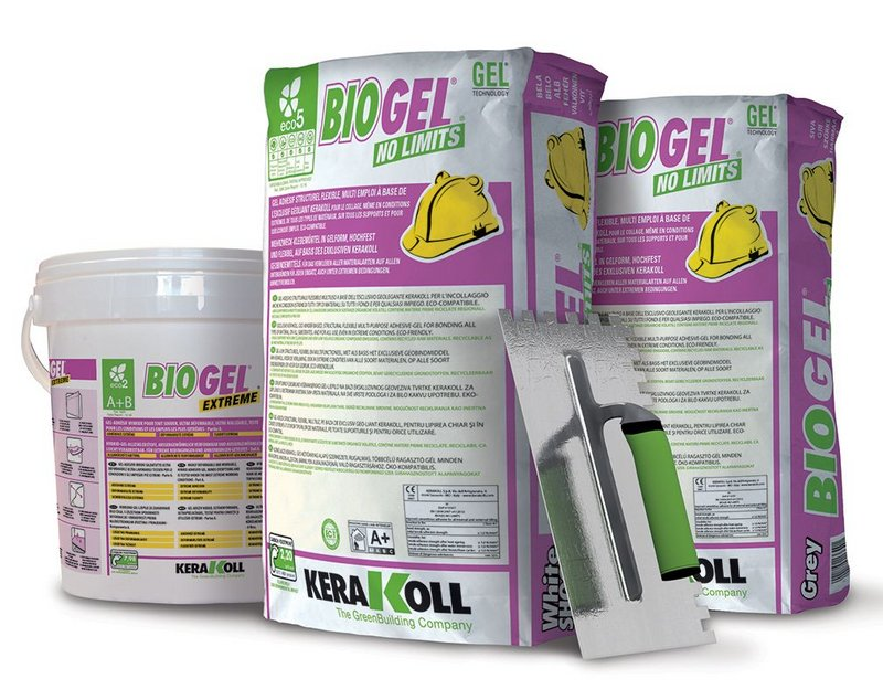 Kerakoll's Biogel tiling adhesives.