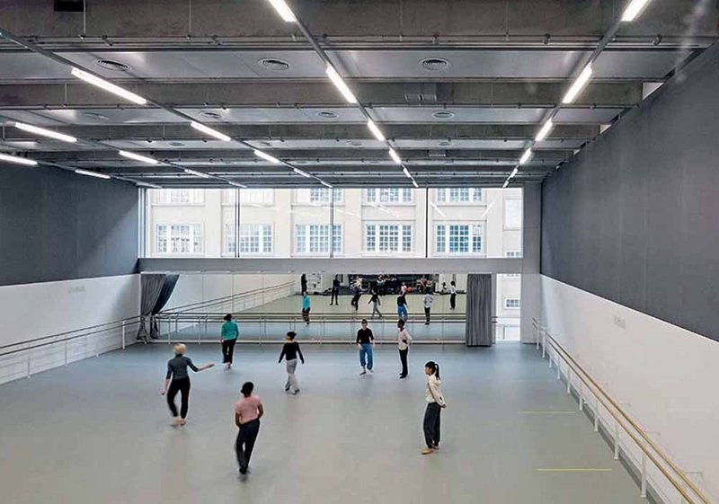 The main Rambert Studio runs the full width of the building at the rear.