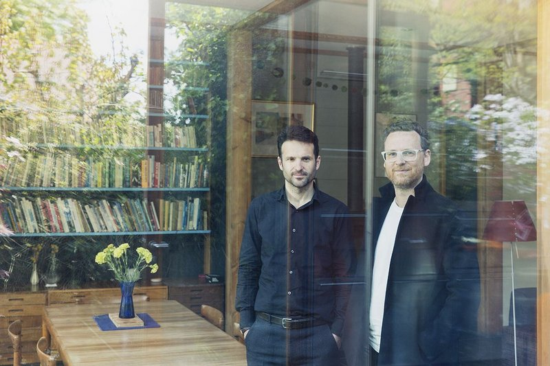 Albert Hill (left) and Matt Gibberd looking out for the future of modern houses at Marcus Lee's Framehouse.