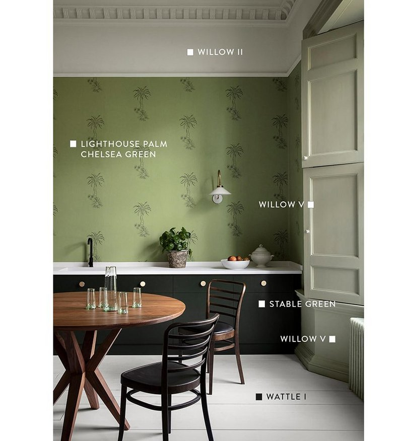 Kitchen-diner painted in Willow II, V, Wattle I, all Architectural Colours range; Stable Green, Original Colours range; with Lighthouse Palm wallpaper in Chelsea Green, all Paint & Paper Library.