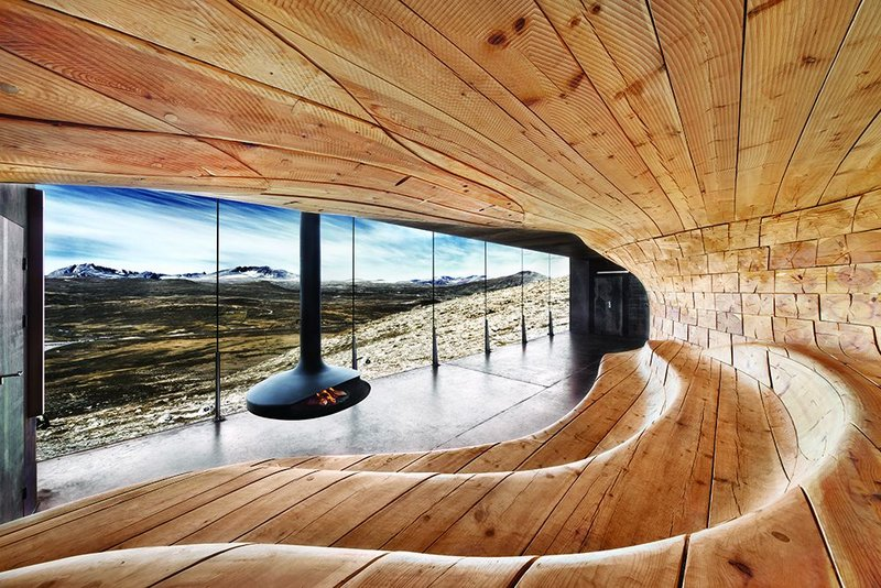 Smooth and soothing: the timber surfaces at Snøhetta's Wild Reindeer Centre Pavilion allow visitors to be 'in touch' with nature even as they shelter from it.