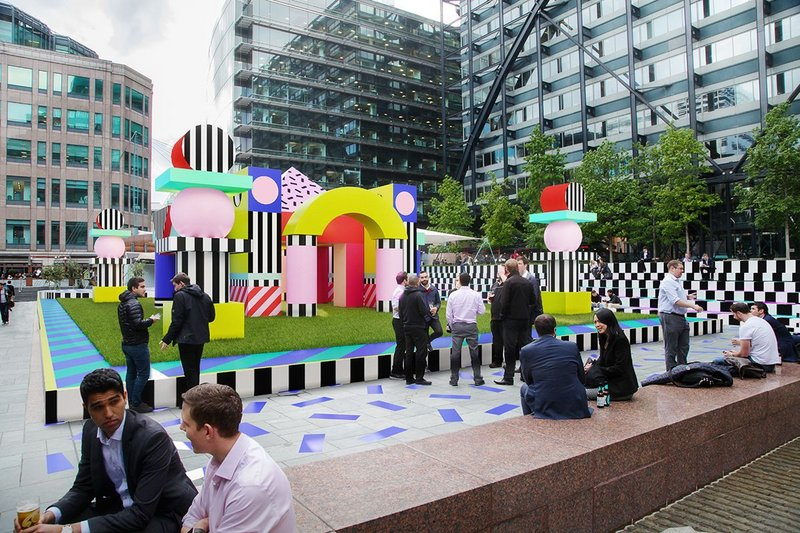 Render of Villa Walala at Broadgate. The vinyl installation's bright patterns are inspired by the work of the Memphis design collective.