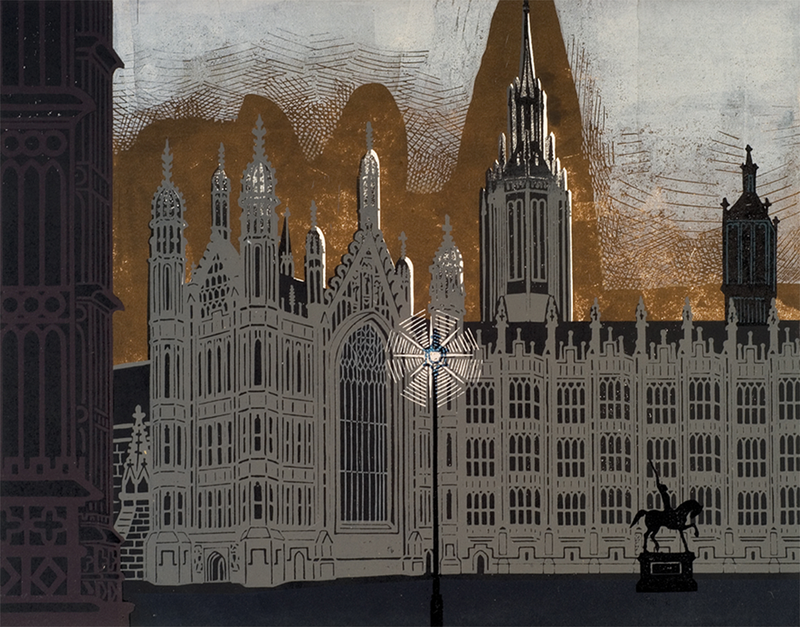 Edward Bawden (1903—1989) Nine London Monuments - Palace of Westminster,  1966. ©The Edward Bawden Estate. Courtesy of the Trustees of the Cecil Higgins Art Gallery (The Higgins Bedford).