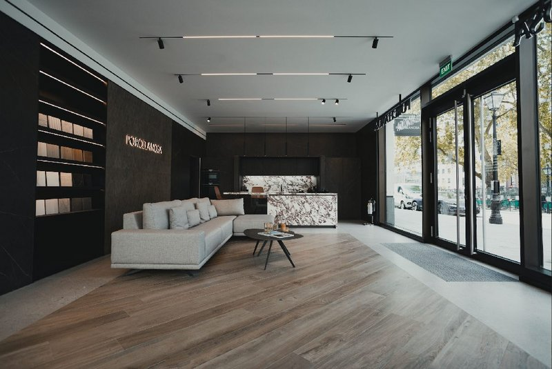 Porcelanosa at Hanover Square: The entrance to the showroom shows its natural wood collection and newest kitchen design with Viola Rossé worktop.