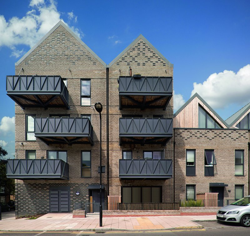 King Edward's Road, Hackney: Patterning on the brick gables and parapets adds texture to the scheme.