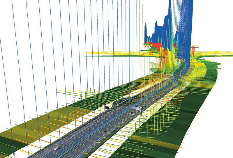 A revolution in speed and accuracy for Highways England: The Rapid Engineering Model automatically generates BIM models. In this visualisation a section of motorway is overlaid with data analysis results showing gradient, curvature, verge width, side grading, visibility.