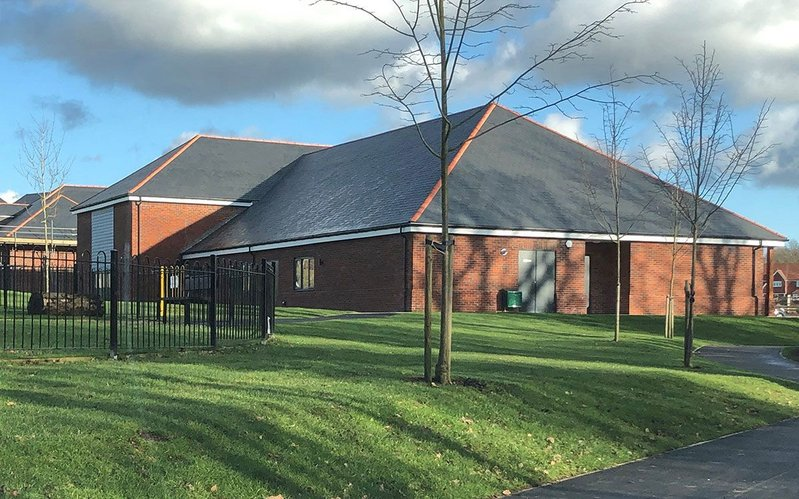Thakeham village hall features Cupa 12 slate in rectangular and bullnose formats, but other designs are also available. Sizes range from between 20x15cm and 60x45cm.