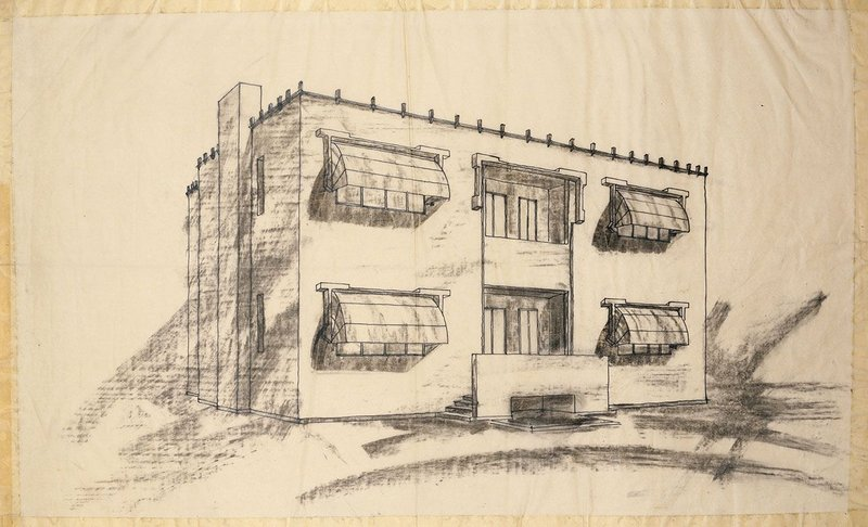 Sketch of the garden front of New Ways for the toy-making Bassett-Lowke family by Peter Behrens.