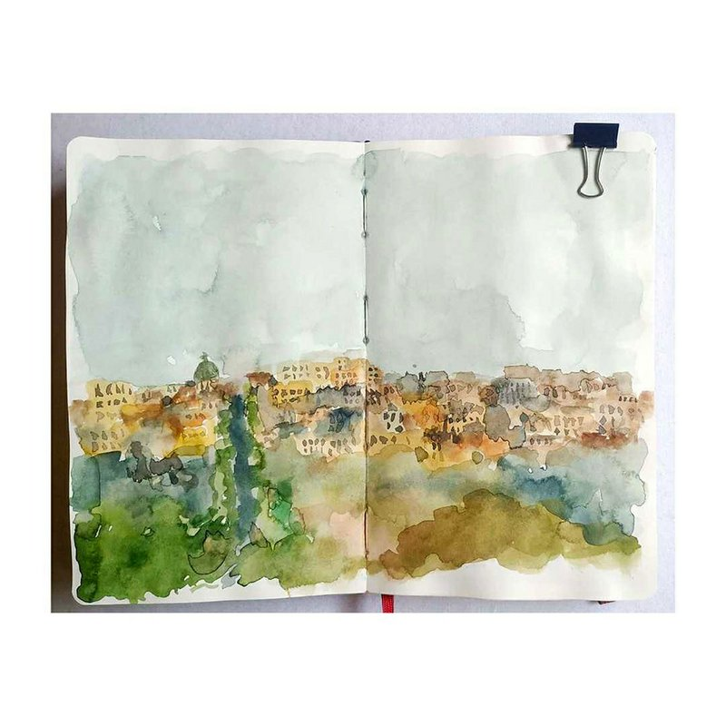 The town of Bergamo striving down the hills.  Watercolour on paper, 210mm × 260mm.