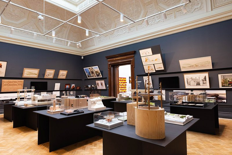 Installation view of the architecture room at the Summer Exhibition 2021, Royal Academy of Arts, London, 22 September 2021 – 2 January 2022. The room was curated by David Adjaye. Photo: © Royal Academy of Arts, London / David Parry