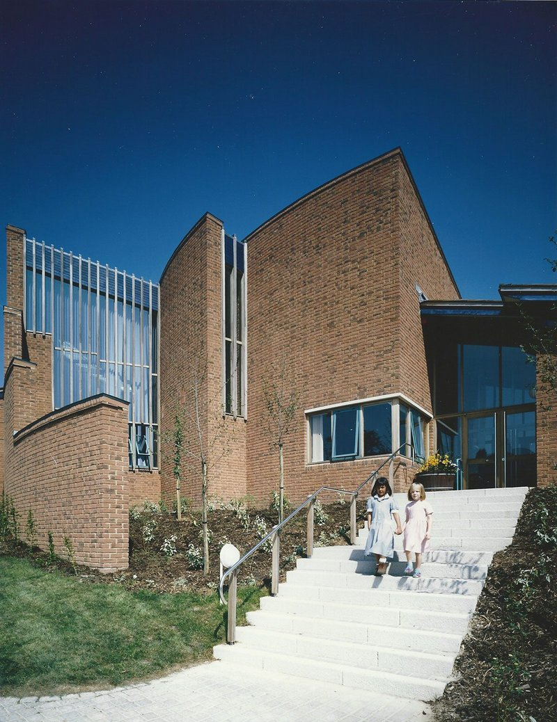 Staff entrance at Solent Infants School, Portsmouth, designed by Kate Macintosh when at Hampshire County Architects.