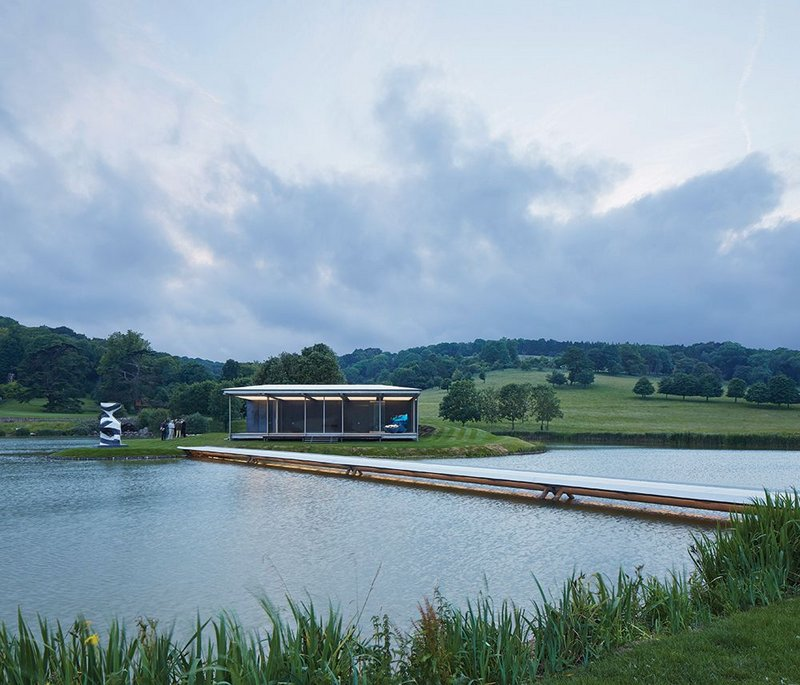 The Island Pavilion is reached by a bridge that barely skims the surface of the lake.