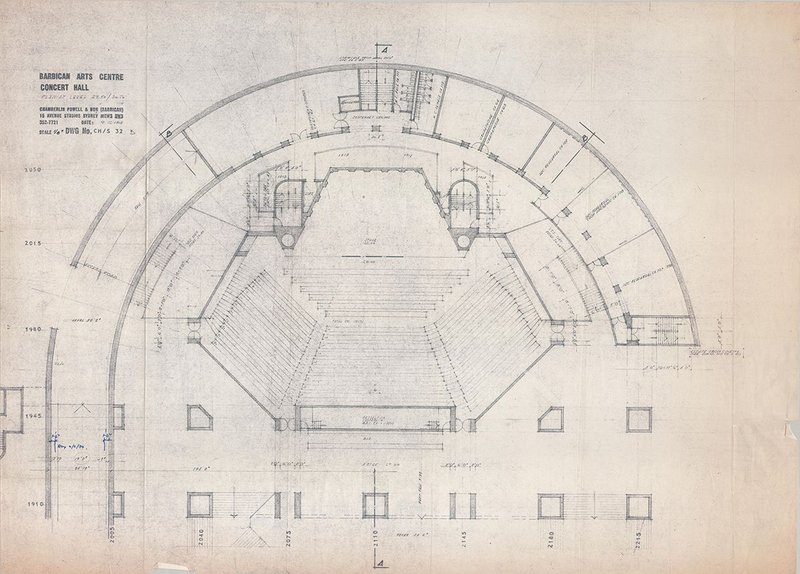 One of Chamberlin, Powell & Bonn's Barbican Arts Centre drawings, 1968.