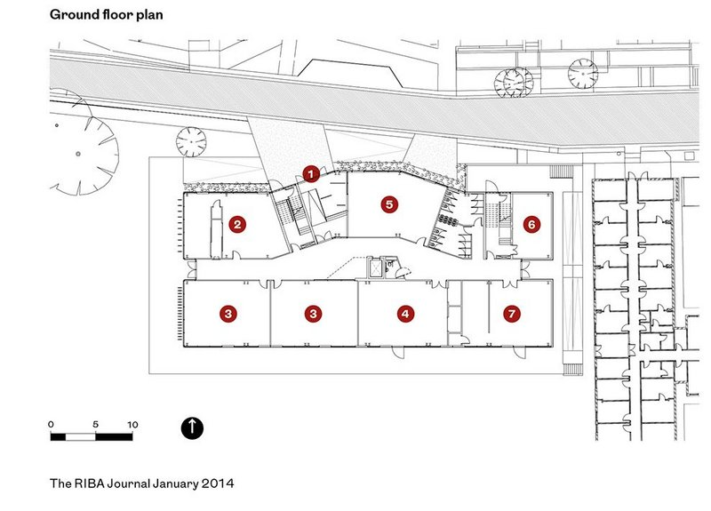 Key to ground floor plan:   1 - Entrance,  2 - Fashion studio,  3 - Dance studio,  4 - Theatre workshop,  5 - Dye workshop,  6 - Plant room,  7 - 3D workshop