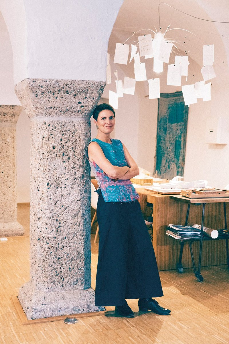 Anna Heringer, who is also professor of the UNESCO Chair of Earthen Architecture,  in her Laufen Beer Hall home and office.