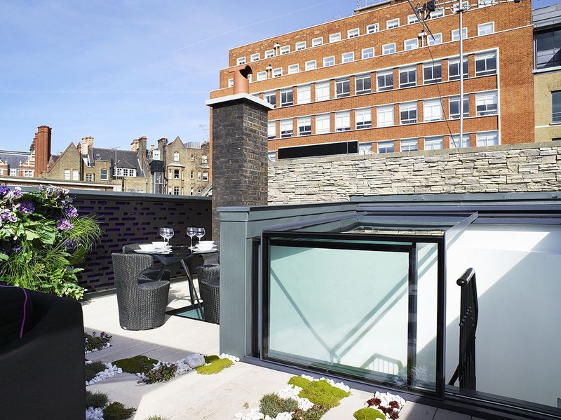 Glazing Vision three wall box rooflight for terrace access, Farm Street Mews, London