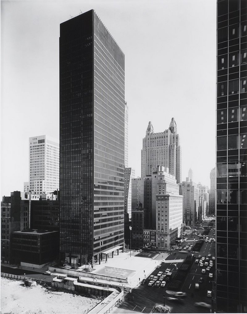 Seagram Building, view from northwest in the afternoon, 375 Park Avenue, New York, 1958. Lambert worked on this as director of planning with architects Mies van der Rohe and Philip Johnson.