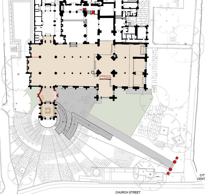 Floor plan showing new entrance and extent of interior works – new work is shown in red.