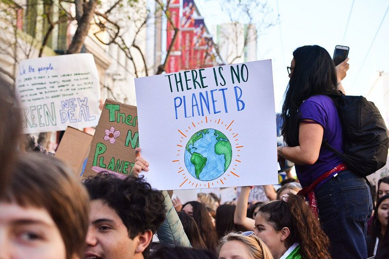 Protesting on climate emergency.