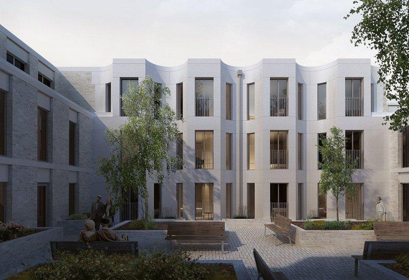 Dementia centre courtyard view of 3DReid's Craigmillar care and residential development.