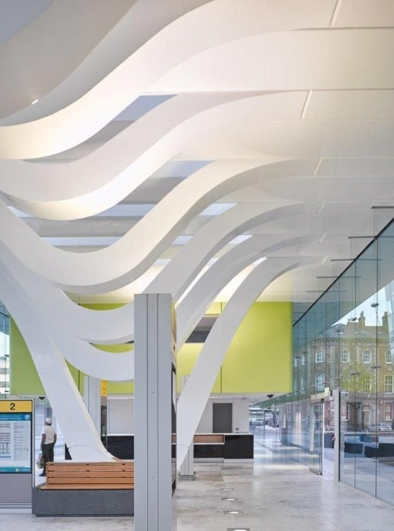 Blackburn Bus Station with its bespoke GRP loops and ceiling panels.