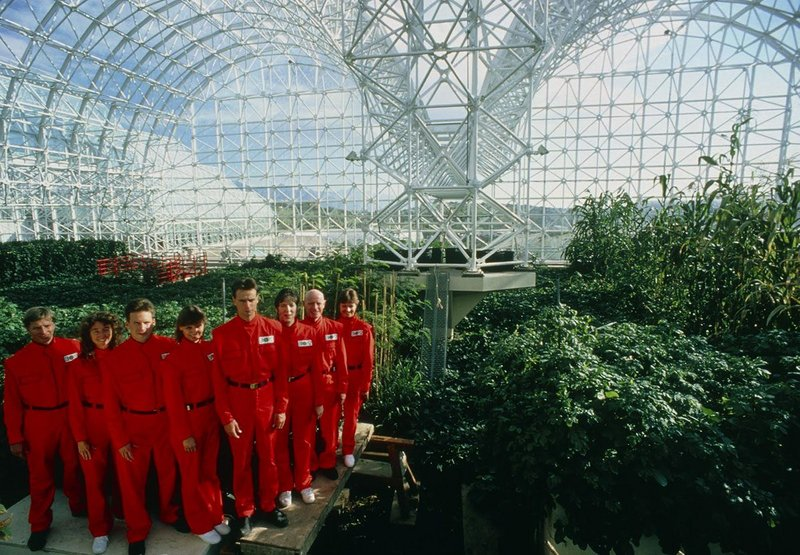 Promotional shot of the eight Biospherians inside Biosphere 2 before they began their two year habitation in 1991. Courtesy of NEON