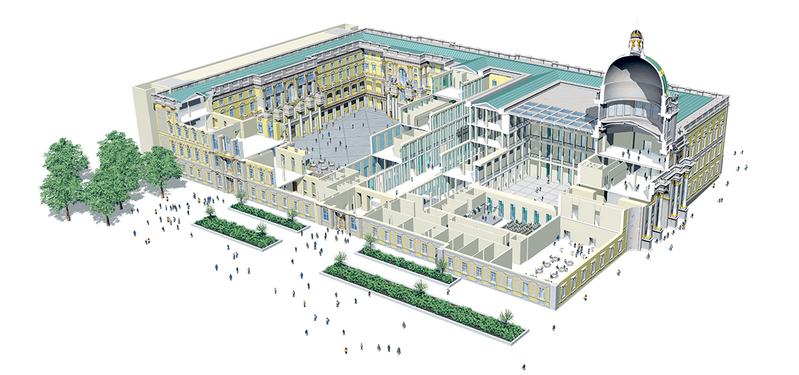 Inside the new palace contains a series of semi-public courtyards and open spaces, inspired by Italian piazzas.