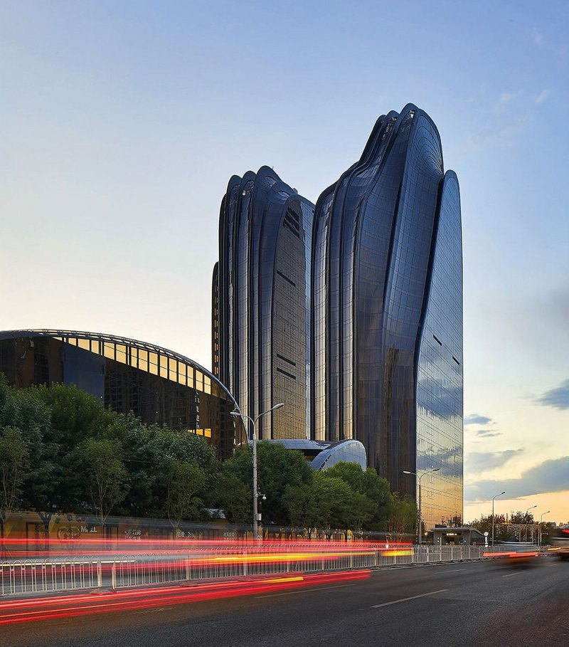 East elevation of Chaoyang Park Plaza from the major artery leading to the park.