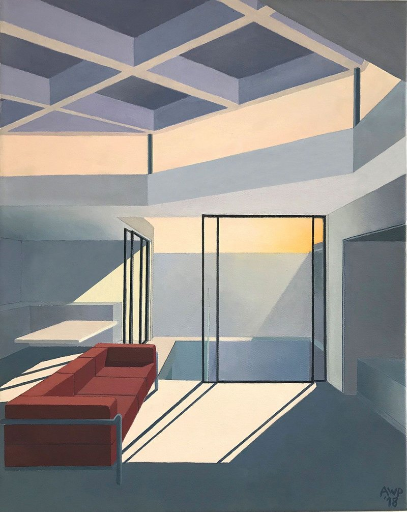 Interior, late afternoon, by last year's third winner, practitioner category, oil on canvas.