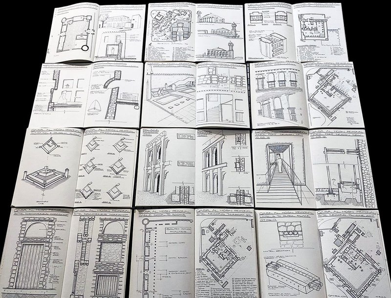 Mark Powell Kyffin's sketchbooks in which he works out ideas for projects and observes historical details.