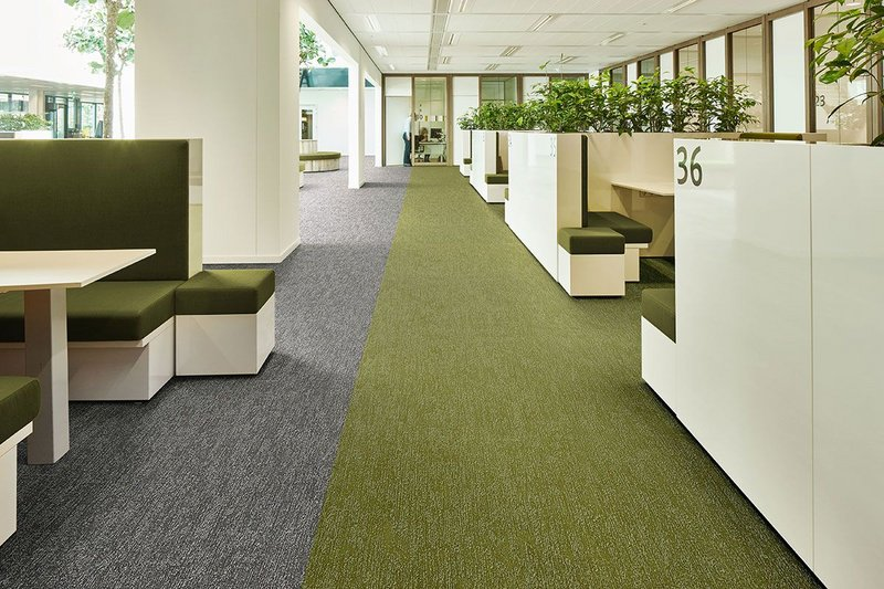 Forbo's Flotex Colour Canyon flocked flooring in Limestone and Kelp. Flotex combines the appeal of a textile flooring with the practical, hygienic advantages of resilient vinyl.